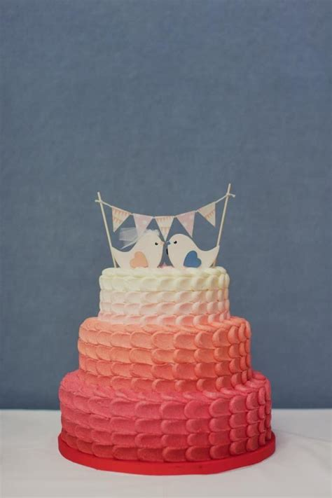 peach ombre wedding cake ombre wedding cake in pink peach and cream with bird cake
