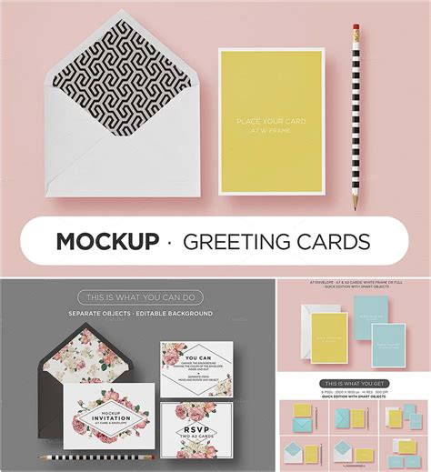 template mockup card set card envelope mockup set free