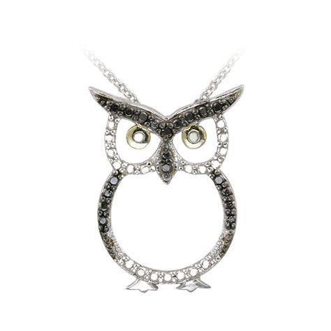 DB Designs Sterling Silver Black Diamond Accent Owl Necklace   Free Shipping On Orders Over $45