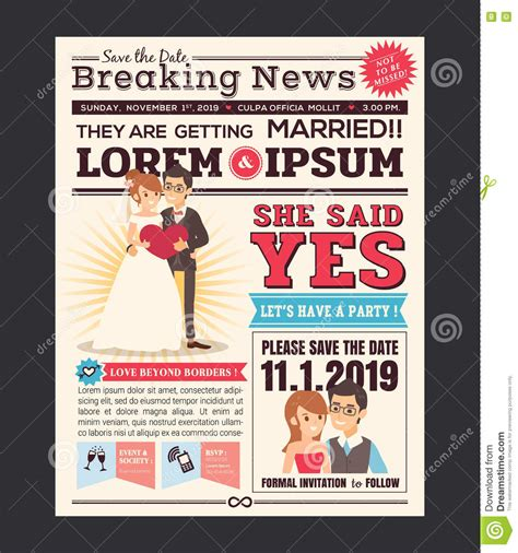 Wedding Newspaper Template by Newspaper Wedding Invitation Card Design Stock Vector Image 75512140