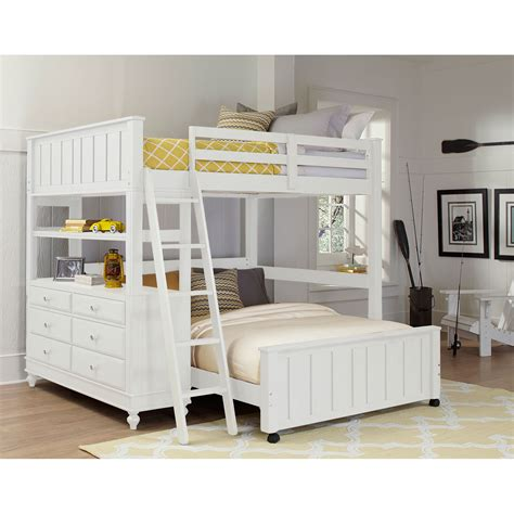 White Loft Bed by Ne Lake House White Loft With Lower Bed