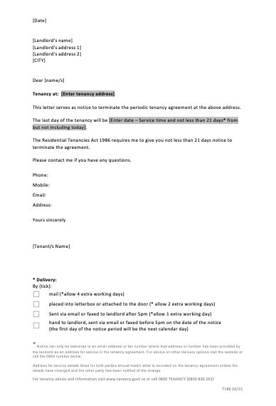 sample letter termination tenancy agreement