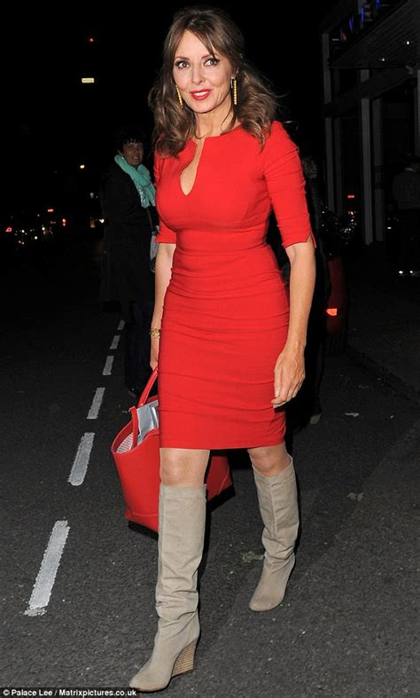 celebrity juice new series 18 carol vorderman wears a figure hugging red dress on