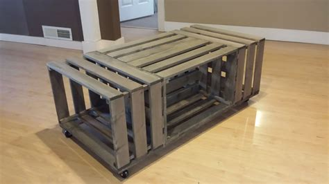 wood crate coffee rolling rectangle wood crate coffee table wood crate