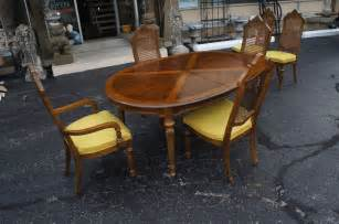 heritage ignet wrought iron dining table: drexel heritage distressed dinette set table  rattan back chairs