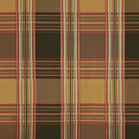 Upholstery Fabric Plaid by B0220f Green Gold Burgundy Stripes Plaid Silk Look