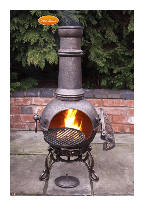 large toledo bronze cast iron chimenea fireplace with bbq