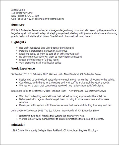 Sle Resume For A Bartender Server Professional Bartender Server Templates To Showcase Your Talent Myperfectresume