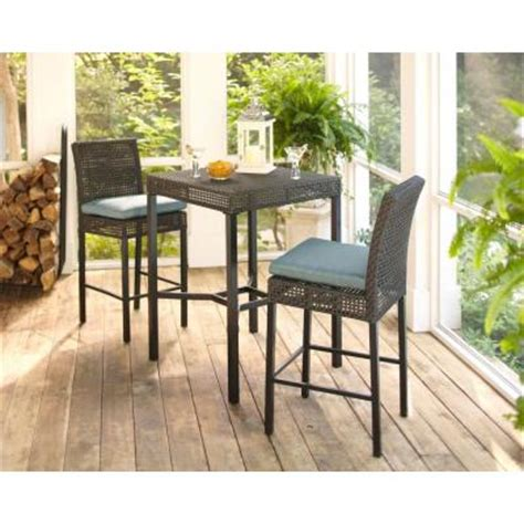 hton bay fenton 3 piece patio high bar bistro set with