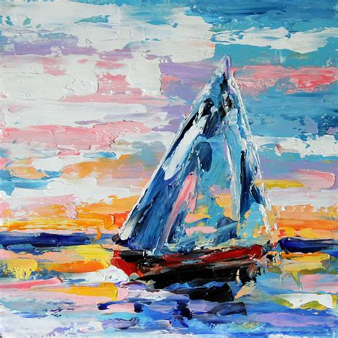 boat canvas dallas texas contemporary fine artist laurie pace summer sunset