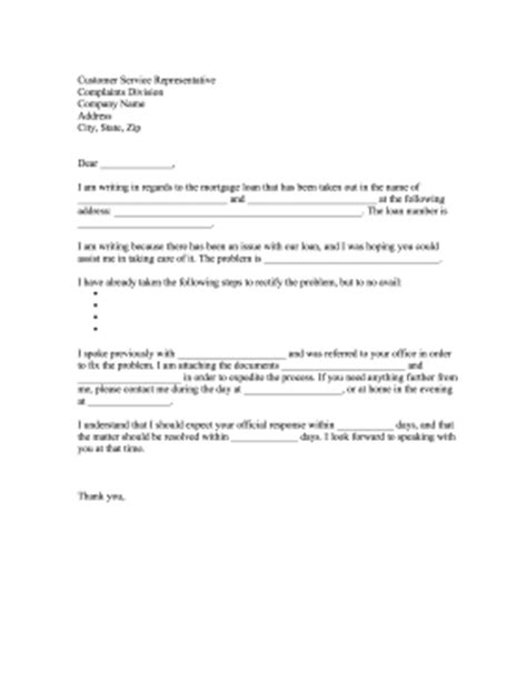 Mortgage Complaint Letter Template Mortgage Loan Complaint Letter
