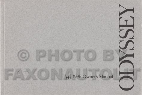 best auto repair manual 1996 honda odyssey user handbook 1996 honda odyssey van owner s manual original