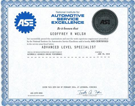ase certificates for geoff