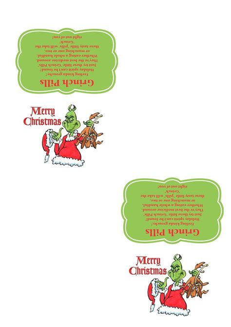 Grinch Card Template by Grinch Pills Template 300 Dpi Ready To Print