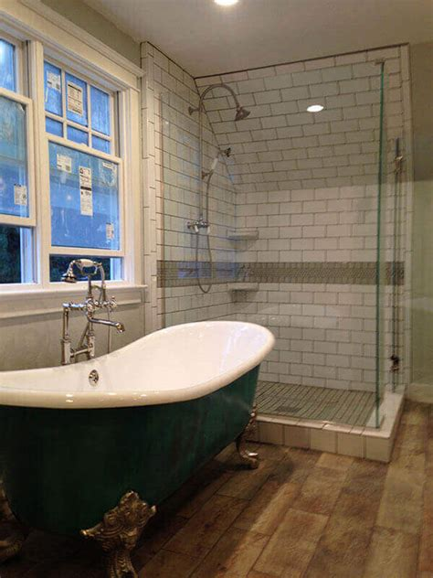 denver bathroom remodel with claw foot tub and glass