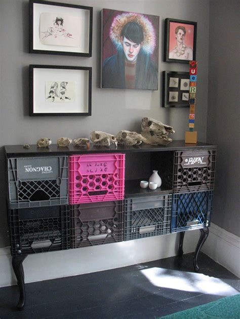 Milk Crate Shelf by 10 Ingenious Ways To Turn Milk Crates Into Furniture