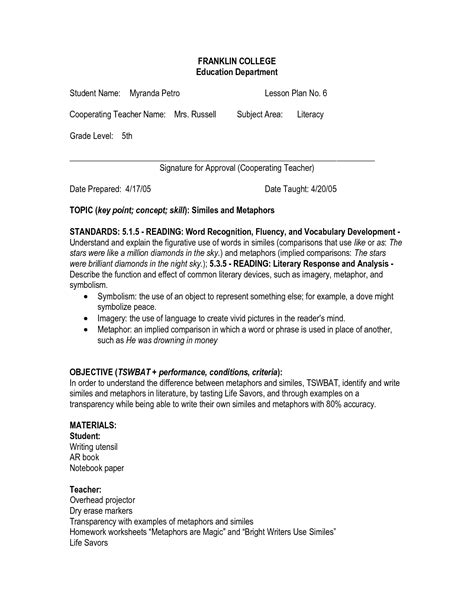 Figurative Language Worksheets 5th Grade by 20 Best Images Of Simile Worksheets For 5th Grade Simile