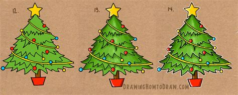 how to draw a christmas tree with simple step by step