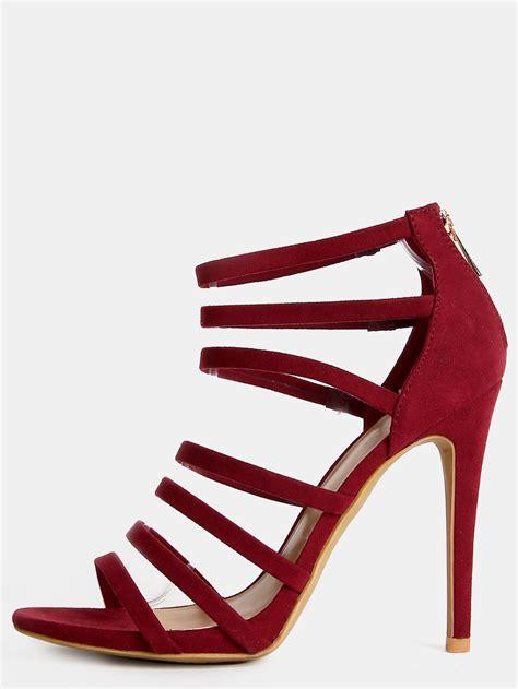 strappy open toe stiletto heels burgundy makemechic