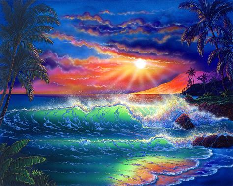 3 In 1 Duvet Island Paradise Painting By Angie Hamlin