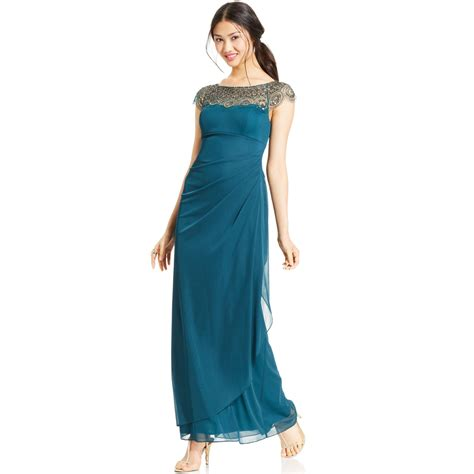 xscape beaded illusion gown xscape cap sleeve illusion beaded gown in green