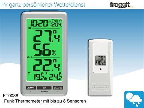 funk wanduhr digital groß funk thermometer ft0088 mit bis zu 8 innen