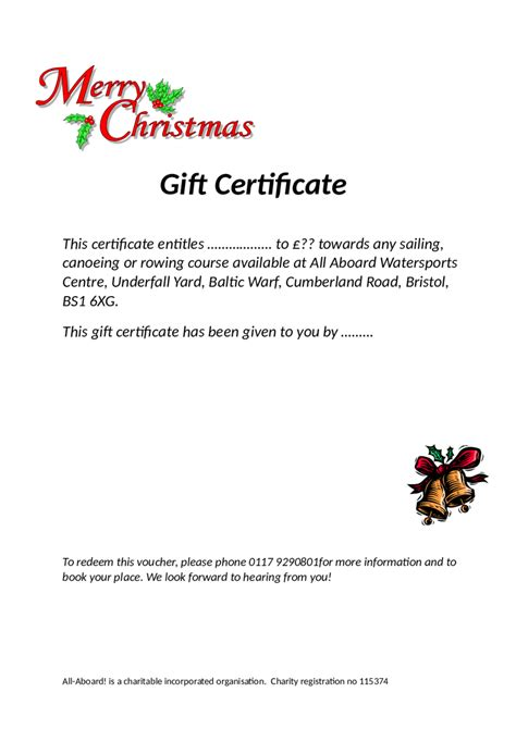 simple gift certificate template exle for christmas