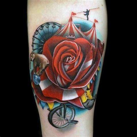 rose themed tattoo 60 circus tattoos for men entertaining design ideas