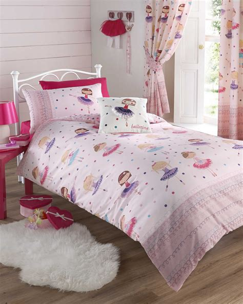 girls pink ballerina bedding duvet quilt cover bed set or