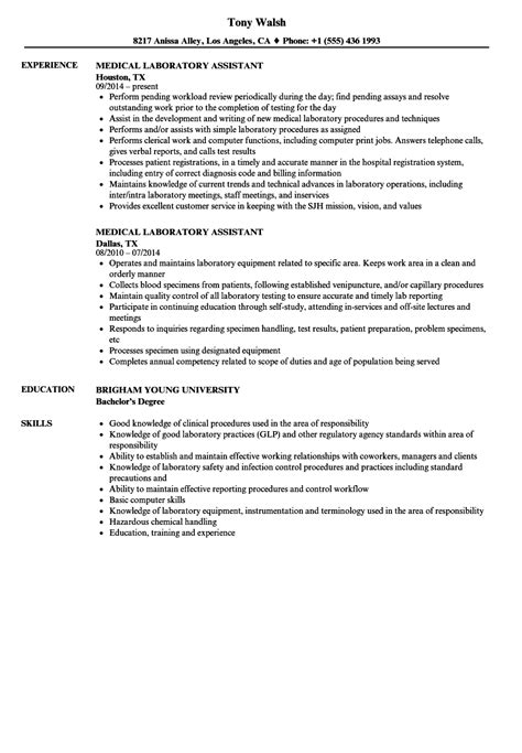 lab assistant resume templates laboratory assistant resume sles velvet