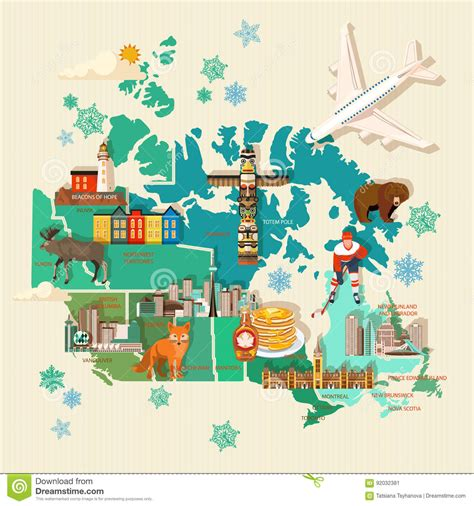 traveling to canada with a travel to canada light design canadian vector illustration with map and airplane