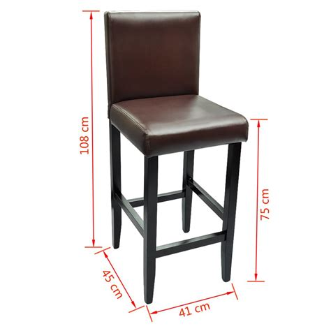 Leather Bar Stools Set Of 2 by Set Of 2 Modern Brown Artificial Leather Bar Stool