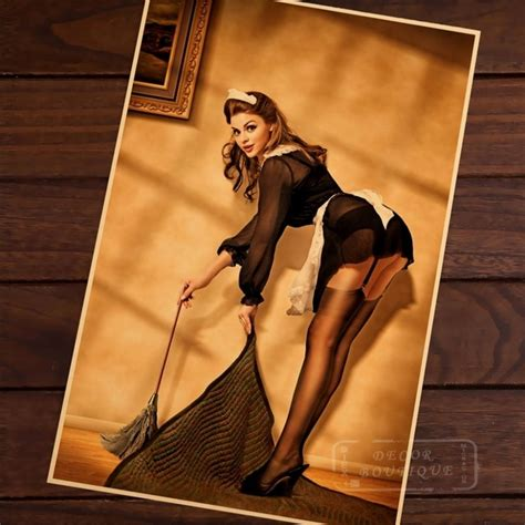 sexy maid pin  girls vintage retro canvas painting