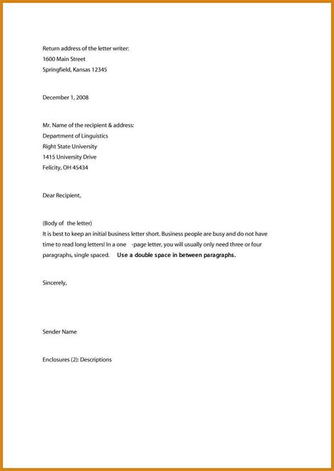 business letter template business letter format sle letter format template
