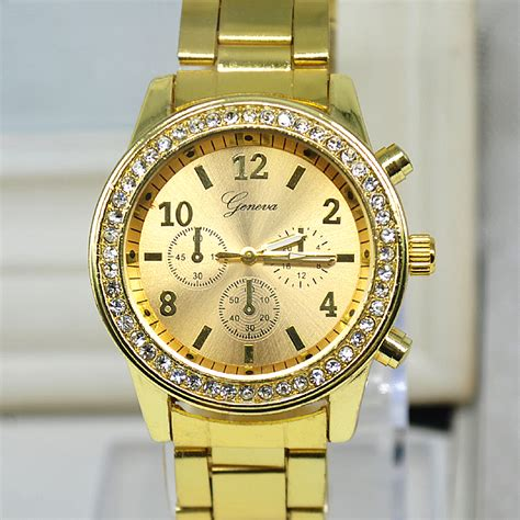 2015 luxury brand new womens watches steel gold