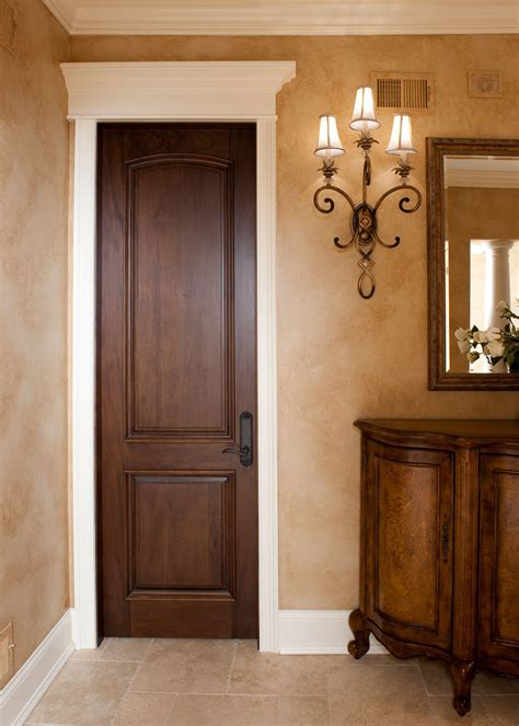 Interior Door Custom Single Solid Wood With Walnut Painting Interior Wood Doors