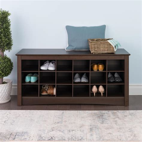 prepac sonoma espresso storage bench ess 4824 the home depot