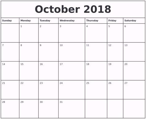 printable calendar 2018 october october 2018 calendar printable template pdf uk usa canada