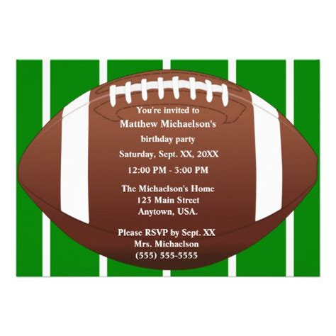 Football Invitation Template by Football With Green Football Field Birthday 5x7