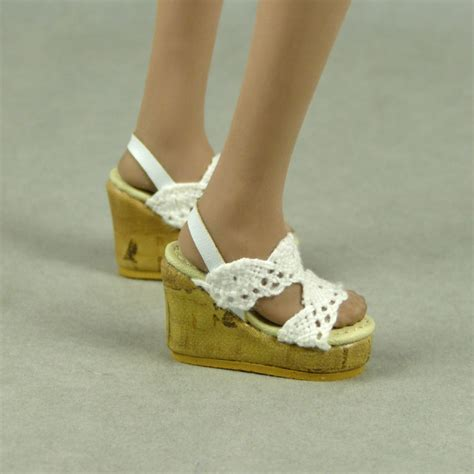 nouveau toys 1 6 shoes series white lace wedge sling