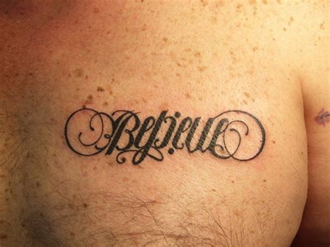 believe word tattoo designs ambigram word believe on chest tattooimages biz