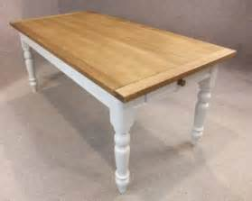 Oak and pine table country farmhouse kitchen dining table painted base