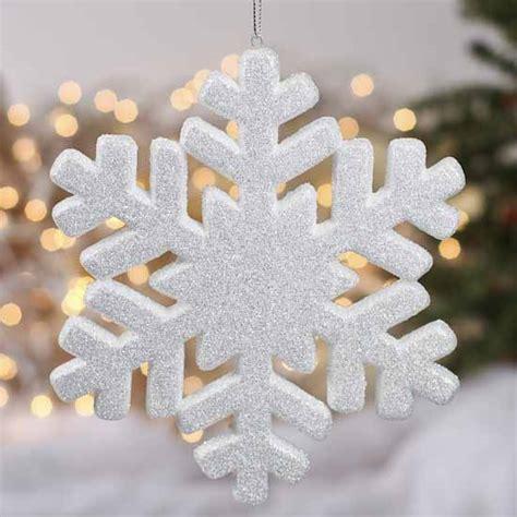 snow flake ornaments white glittered snowflake ornament ornaments