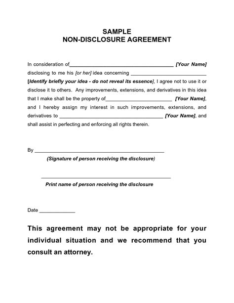 Letter Of Non Disclosure Agreement Non Disclosure Agreement Sle Free Printable Documents