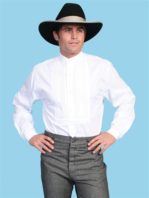 western collars scully 174 mens banded collar western tuxedo shirt
