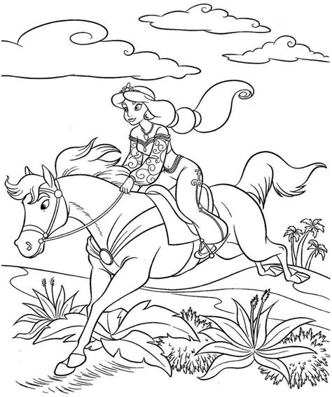 coloring pages disney princess jasmine printable for kids