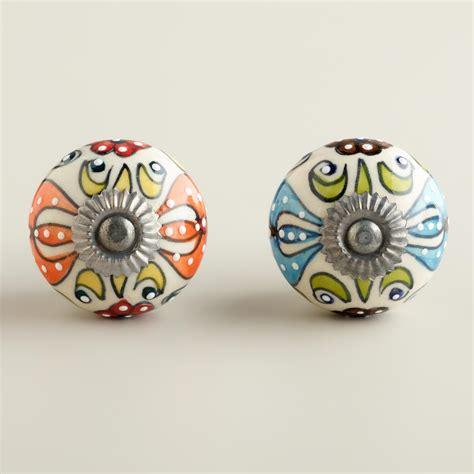 World Market Knobs by Embossed Floral Ceramic Knobs Set Of 2 World Market