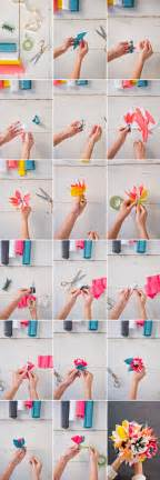 How To Make Flowers Out Of Paper Ribbon - paper flower bouquet diy