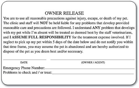Owner Release Self Stick Label Smartpractice Veterinary Veterinary Release Form Template