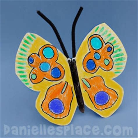 Butterfly Paper Plate Craft - butterfly caterpillar and inchworm crafts